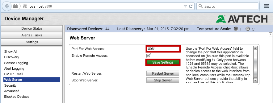 How To Change Device ManageR's HTTP Port - AVTECH
