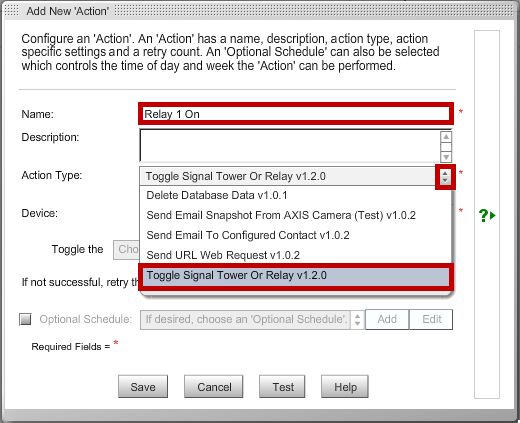 Add New Action- Name and Action Type - AVTECH