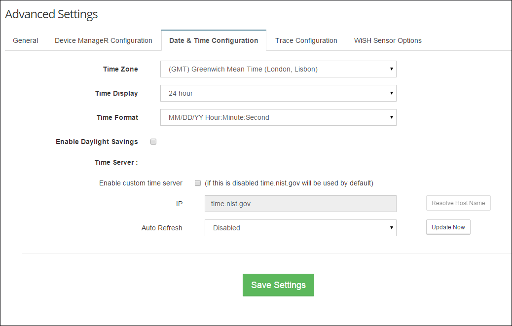 Default Date & Time Configuration page