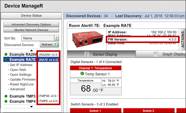 Where To Find The Firmware Version Of A Room Alert Monitor