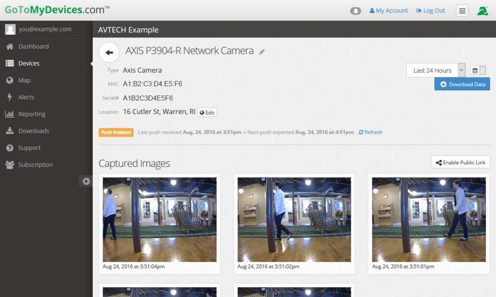 NEW! View Axis camera stills directly from GoToMyDevices.