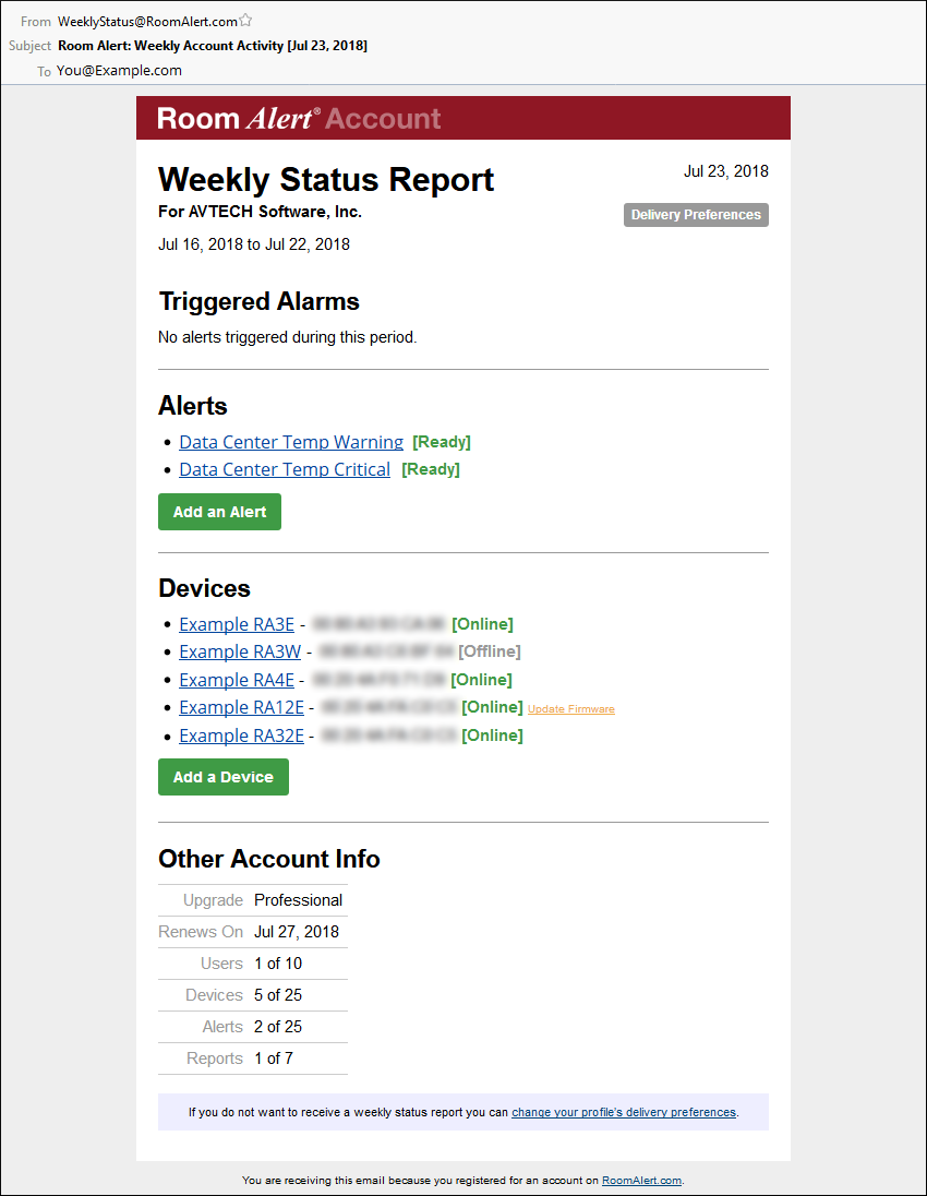 How To Edit Delivery Preferences For Roomalert Com Weekly Status