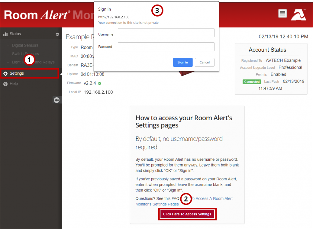 How To Access A Room Alert Monitor's Settings Pages - AVTECH